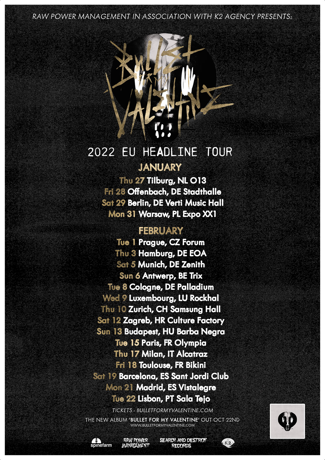 bullet for my valentine europe 2022